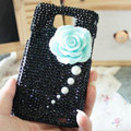 Bling Flower Crystal Cases Pearls Covers for Samsung i9100 i9108 i9188 Galasy S2 SII - Black