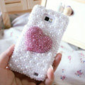Bling Heart Crystal Cases Pearls Covers for Samsung i9100 i9108 i9188 Galasy S2 SII - Pink