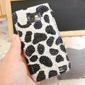 Bling Leopard Crystal Cases Pearls Covers for Samsung i9100 i9108 i9188 Galasy S2 SII - Black