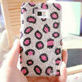 Bling Leopard Crystal Cases Pearls Covers for Samsung i9100 i9108 i9188 Galasy S2 SII - Pink