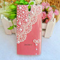 Bling Pearl Lace Cases Hard Covers for Sony Ericsson LT26i Xperia S - Pink