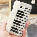 Bling Piano Crystal Cases Pearls Covers for Samsung i9100 i9108 i9188 Galasy S2 SII - Black