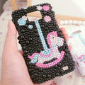 Bling Trojan Crystal Cases Pearls Covers for Samsung i9100 i9108 i9188 Galasy S2 SII - Black