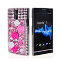 Bling 3D Flower Rhinestone Crystal Cases Covers for Sony Ericsson LT26i Xperia S - Pink