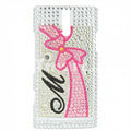 Bling Bowknot Rhinestone Crystal Cases Covers for Sony Ericsson LT26i Xperia S - Pink