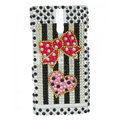 Bling Bowknot Rhinestone Crystal Cases Covers for Sony Ericsson LT26i Xperia S - Red