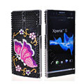 Bling Butterfly Rhinestone Crystal Cases Covers for Sony Ericsson LT26i Xperia S - Pink