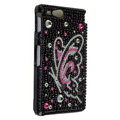 Bling Butterfly Rhinestone Crystal Cases Covers for Sony Ericsson ST27i Xperia Go - Black