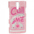 Bling Call me Rhinestone Crystal Cases Covers for Sony Ericsson LT26i Xperia S - Pink