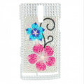 Bling Flower Rhinestone Crystal Cases Covers for Sony Ericsson LT26i Xperia S - Pink