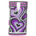 Bling Heart Crystal Rhinestone Cases Covers for Sony Ericsson LT26i Xperia S - Purple