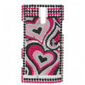 Bling Heart Crystal Rhinestone Cases Covers for Sony Ericsson LT26i Xperia S - Rose