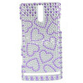 Bling Hearts Rhinestone Crystal Cases Covers for Sony Ericsson LT26i Xperia S - Purple