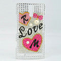 Bling I love you Rhinestone Crystal Cases Covers for Sony Ericsson LT26i Xperia S - Rose