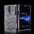 Bling Rhinestone Crystal Cases Covers for Sony Ericsson LT26i Xperia S - White