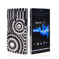 Bling Round Rhinestone Crystal Cases Covers for Sony Ericsson LT26i Xperia S - Black