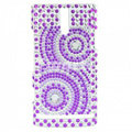 Bling Round Rhinestone Crystal Cases Covers for Sony Ericsson LT26i Xperia S - Purple