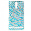 Bling Zebra Rhinestone Crystal Cases Covers for Sony Ericsson LT26i Xperia S - Blue