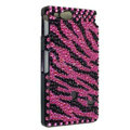 Bling Zebra Rhinestone Crystal Cases Covers for Sony Ericsson ST27i Xperia Go - Rose