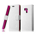 IMAK Slim leather Cases Holster Covers for Sony Ericsson LT26w Xperia acro S - White