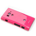 ROCK Colorful Glossy Cases Skin Covers for Sony Ericsson LT26w Xperia acro S - Rose (High transparent screen protector)
