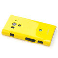 ROCK Colorful Glossy Cases Skin Covers for Sony Ericsson LT26w Xperia acro S - Yellow (High transparent screen protector)