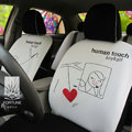 FORTUNE Human Touch Heart Window Autos Car Seat Covers for Honda Civic EX Coupe - White