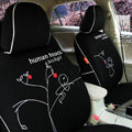 FORTUNE Human Touch Heart tree Autos Car Seat Covers for Honda Civic Hatchback - Black