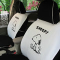 FORTUNE Snoopy Autos Car Seat Covers for Honda Civic Hatchback - White