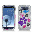 BEAR PAWS Bling Crystal Cover Rhinestone Diamond Cases For Samsung Galaxy S III 3 i9300 I9308 - White