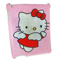 Bling Hello kitty Crystal Cases Diamond Rhinestone Hard Covers for iPad 2 / The New iPad - Pink
