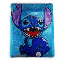 Bling Stitch Crystal Cases Diamond Rhinestone Hard Covers for iPad 2 / The New iPad - Blue