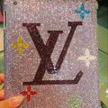 Bling Swarovski LV Louis Vuitton covers diamond crystal cases for iPad 2 / The New iPad - Pink