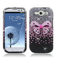 Bow Bling Crystal Cover Rhinestone Diamond Cases For Samsung Galaxy S III 3 i9300 I9308 - Black