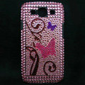 Butterfly Bling Crystal Covers Rhinestone Diamond Cases For Samsung Galaxy S III 3 i9300 I9308 - Pink