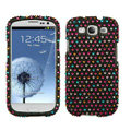 DOTS Bling Crystal Cover Rhinestone Diamond Cases For Samsung Galaxy S III 3 i9300 I9308 - Black