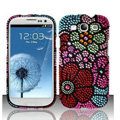 Flower Bling Crystal Cover Rhinestone Diamond Cases For Samsung Galaxy S III 3 i9300 I9308 - Red