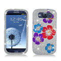 Flower Bling Crystal Cover Rhinestone Diamond Cases For Samsung Galaxy S III 3 i9300 I9308 - White