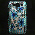 Flower Bling Crystal Covers Rhinestone Diamond Cases For Samsung Galaxy S III 3 i9300 I9308 - Blue