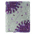 Heart Bling Crystal Cases Diamond Rhinestone Hard Covers for iPad 2 / The New iPad - Purple