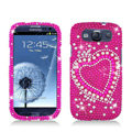 Heart Bling Crystal Cover Rhinestone Diamond Cases For Samsung Galaxy S III 3 i9300 I9308 - Rose