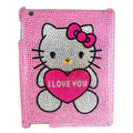 Hello kitty Bling Crystal Cases Diamond Rhinestone Hard Covers for iPad 2 / The New iPad - Pink