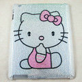 Hello kitty Bling Crystal Cases Diamond Rhinestone Hard Covers for iPad 2 / The New iPad - White