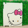 Hello kitty Bling Crystal Cases Diamond Rhinestone Pearl Hard Covers for iPad 2 / The New iPad - White