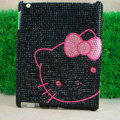 Hot Hello kitty Bling Crystal Cases Diamond Rhinestone Hard Covers for iPad 2 / The New iPad - Black