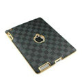 LV Louis Vuitton Leather Cases Hard Covers for iPad 2 / The New iPad - Grey