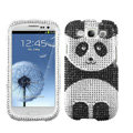 Panda Bling Crystal Cover Rhinestone Diamond Cases For Samsung Galaxy S III 3 i9300 I9308 - Black