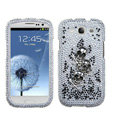 Skull Bling Crystal Cover Rhinestone Diamond Cases For Samsung Galaxy S III 3 i9300 I9308 - White