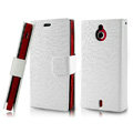 IMAK Slim leather Cases Luxury Holster Covers for Sony Ericsson MT27i Xperia sola - White
