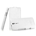 IMAK The Count leather Cases Luxury Holster Covers for Sony Ericsson LT26i Xperia S - White (High transparent screen protector)